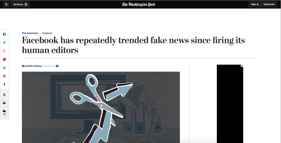 Screenshot of Washington Post article Facebook has repeatedly trended fake news since firing its human editors