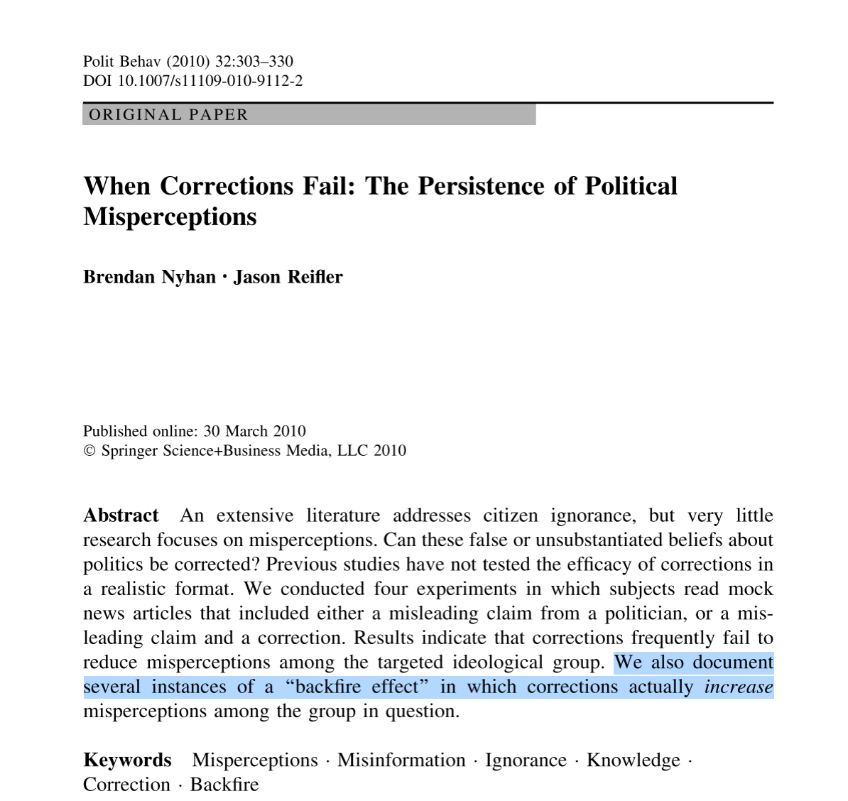 Screenshot of article When Corrections Fail: the persistence of political misperceptions